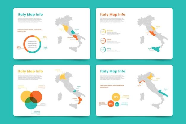 イタリア地図インフォグラフィック 無料ベクター