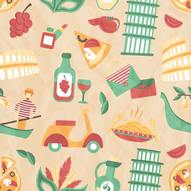 Italy seamless pattern Free Vector