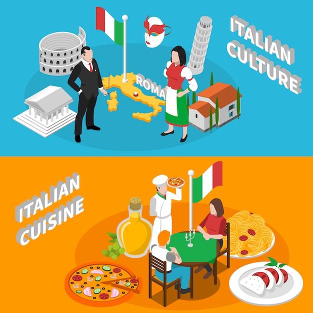 Италия туризм изометрические баннеры Бесплатные векторы