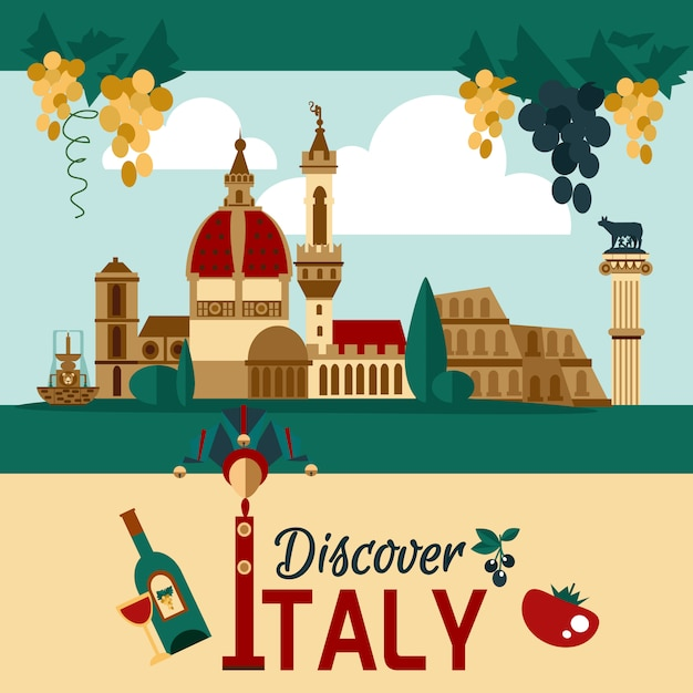 Italy touristic poster Free Vector