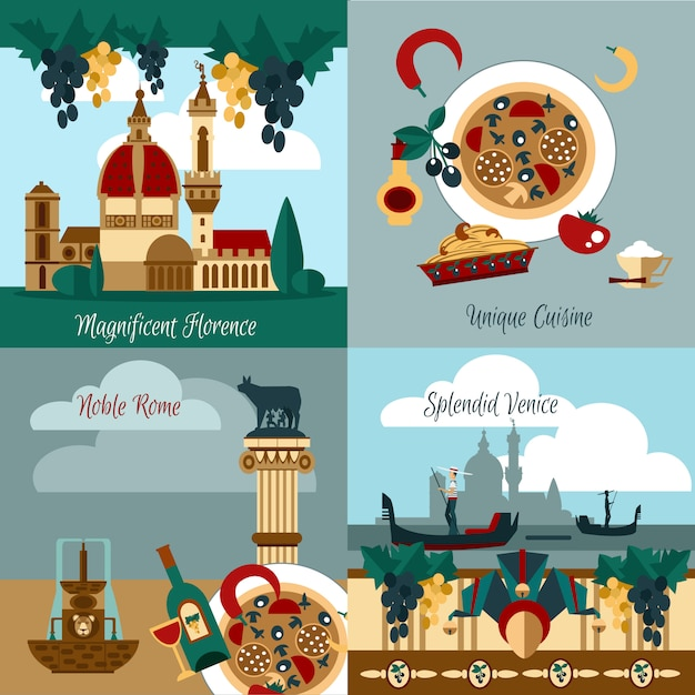 Italy touristic set Free Vector