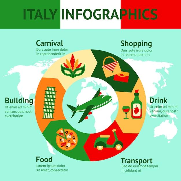 Italy travel infographics template Premium Vector