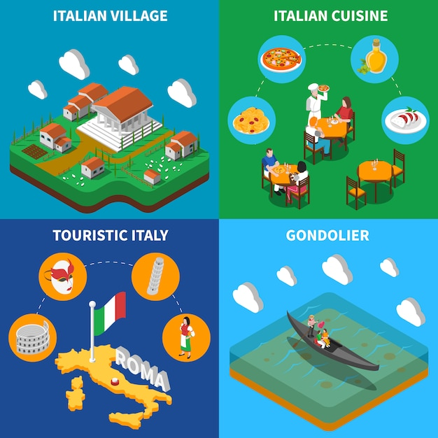 Italy travel isometric card set Free Vector