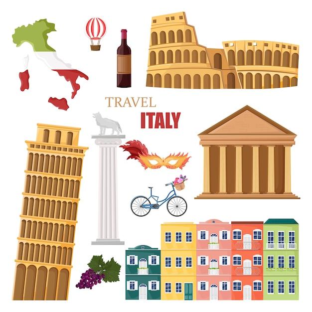 イタリア旅行のランドマークコレクション Premiumベクター