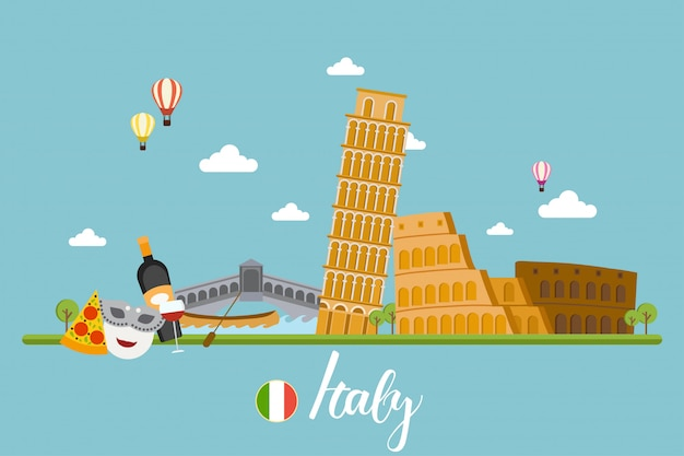 Italy travel landscapes vector illustration Premium Vector