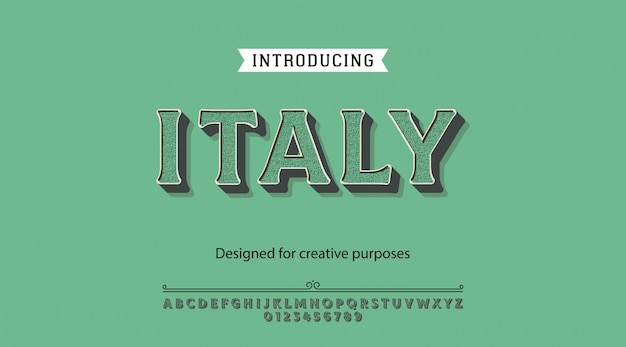 Italy typeface.for labels and different type designs Premium Vector