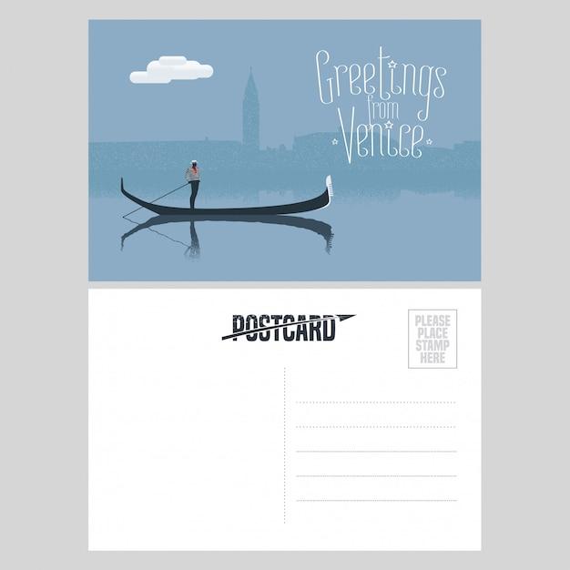 イタリア、ヴェネツィアの運河でゴンドラとゴンドラのあるヴェネツィアのポストカードデザイン Premiumベクター