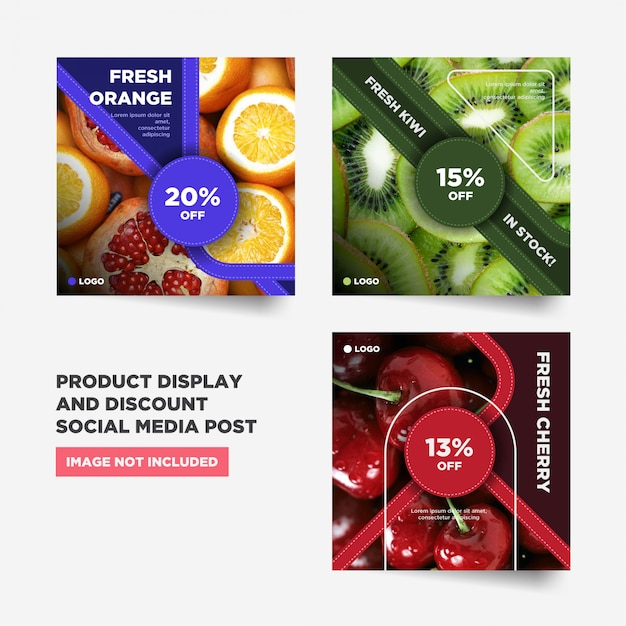 Items promotion social media post collection Premium Vector