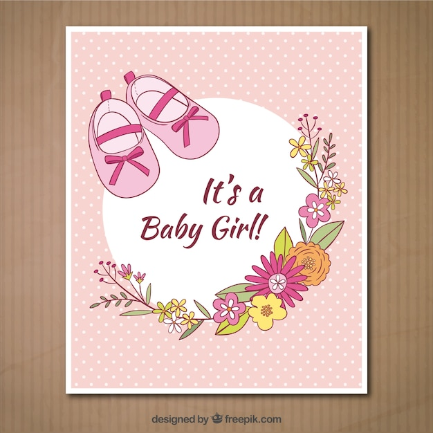 Its a baby girl card Free Vector