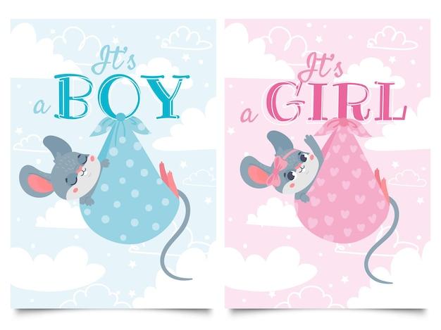 Это карточки мальчика и девочки. этикетка детского душа с милой мышью, мышами, детьми, векторные иллюстрации шаржа. Premium векторы