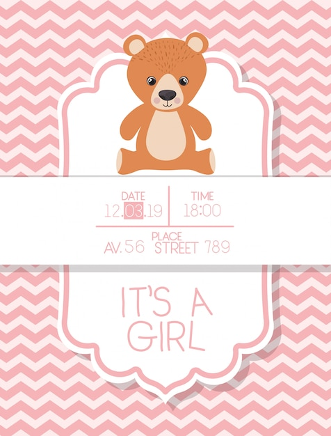 Its a boy baby shower card with bear teddy Free Vector