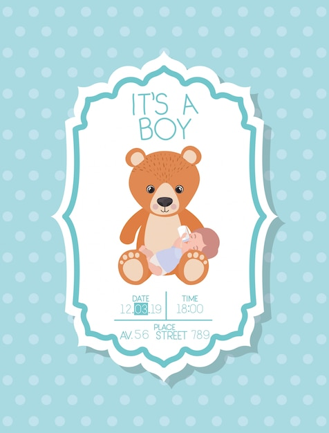 Its a boy baby shower card with kid and bear teddy Free Vector