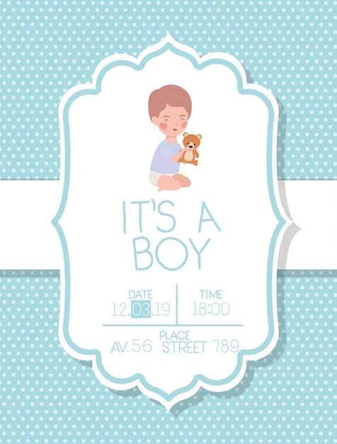 È una carta di baby shower per ragazzo con orsetto per bambini e orsacchiotti Vettore gratuito