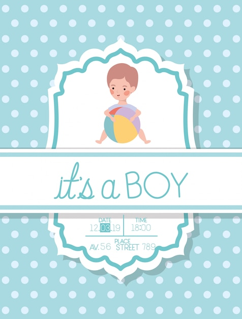 Its a boy baby shower card with kid and plastic balloon Free Vector