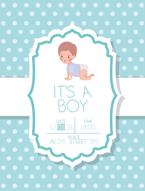 Its a boy baby shower card with little kid Free Vector