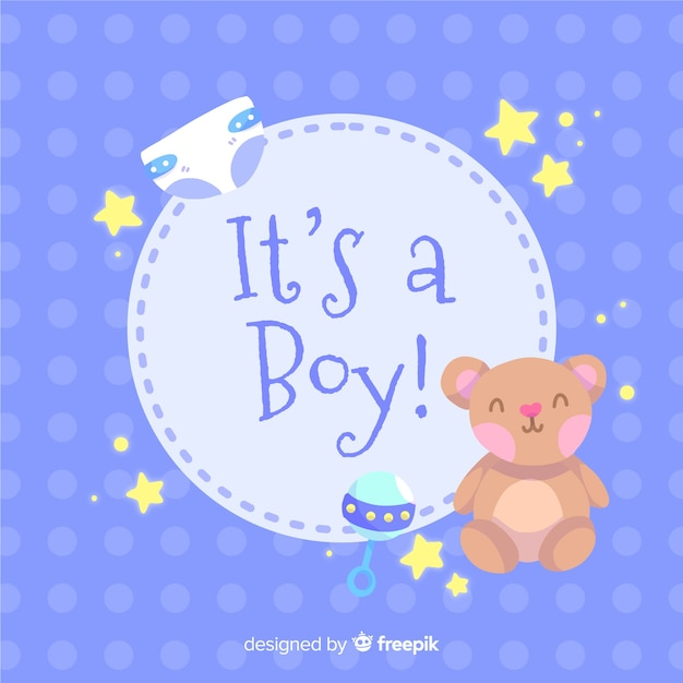 Its a boy baby shower template Vector | Free Download
