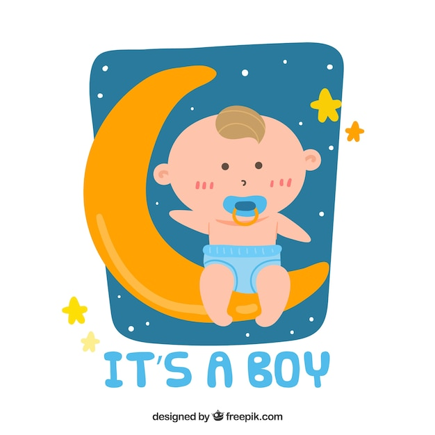 Its a boy background with baby on moon Free Vector