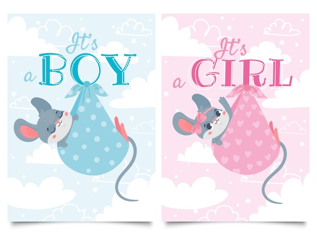 Its boy and girl cards. baby shower label with cute mouse, mice children vector cartoon illustration set. Premium Vector