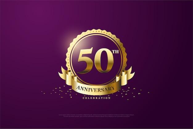 보라색 배경과 밝은 금색 숫자로 된 창립 50 주년 프리미엄 벡터