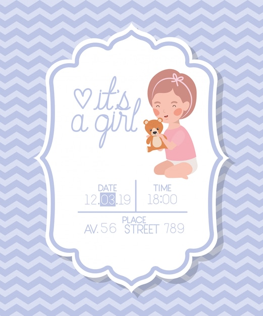 Its a girl baby shower card with kid and bear teddy Free Vector
