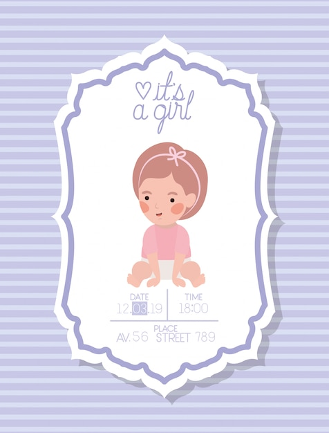 Its a girl baby shower card with little kid Free Vector