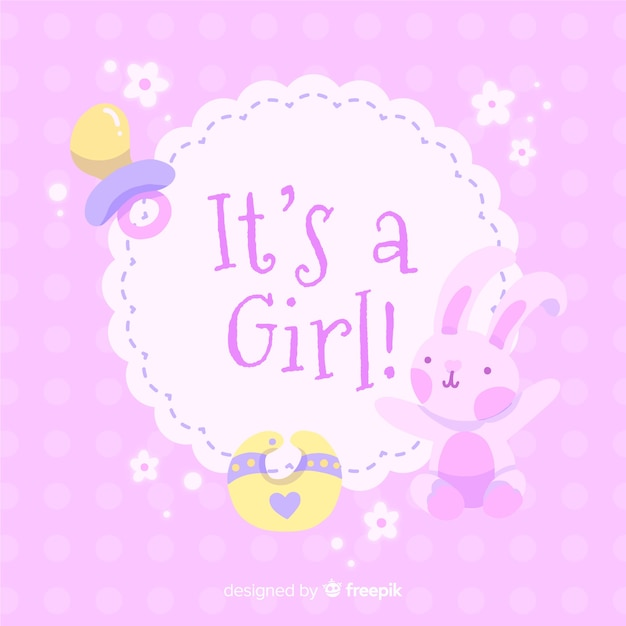 Its A Girl Baby Shower Template Vector Free Download