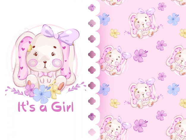 Its a girl pattern with rabbit seamless pattern Premium Vector