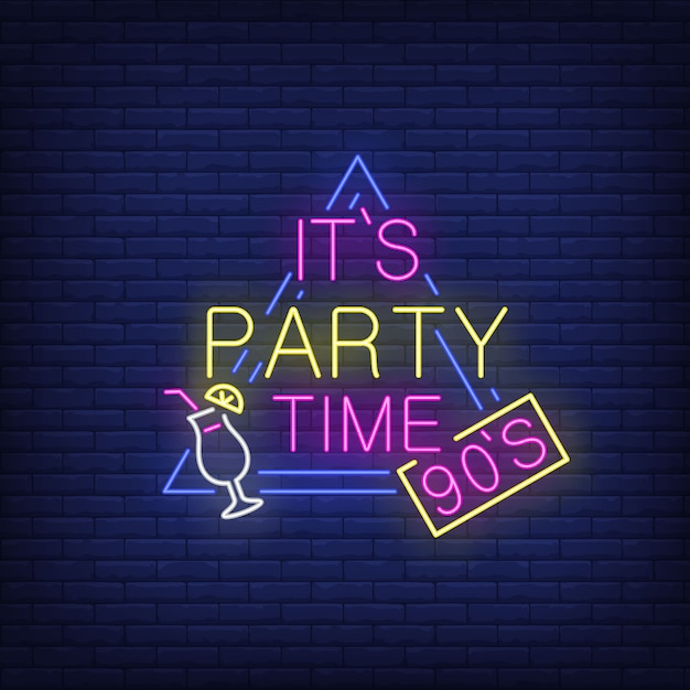 Its party time neon lettering with cocktail. Free Vector