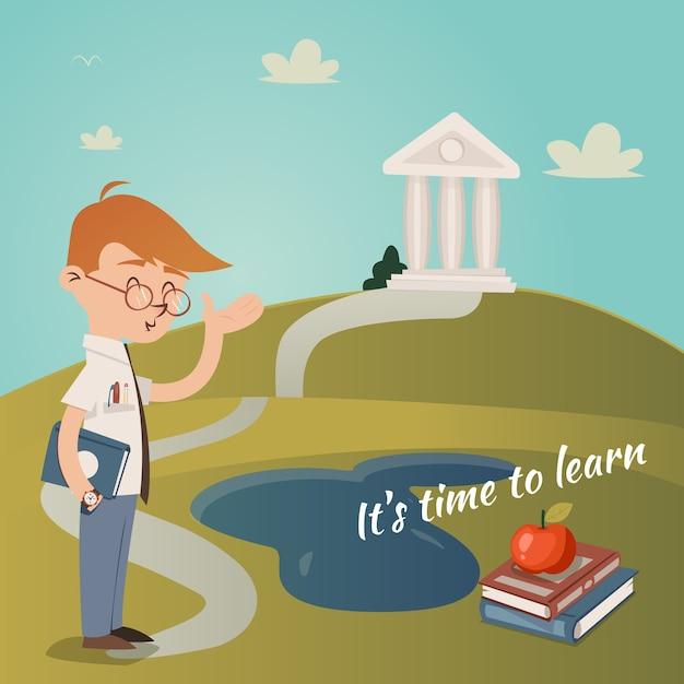 教育の概念で丘の上にある大学の建物への歩道を上る道を指している彼の腕の下に本を持っている学校の先生とのベクトルイラストを学ぶその時間 無料ベクター