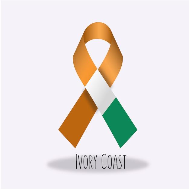 ivory coast flag ribbon design free vector