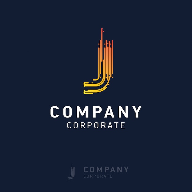 J company logo design with visiting card vector Free Vector