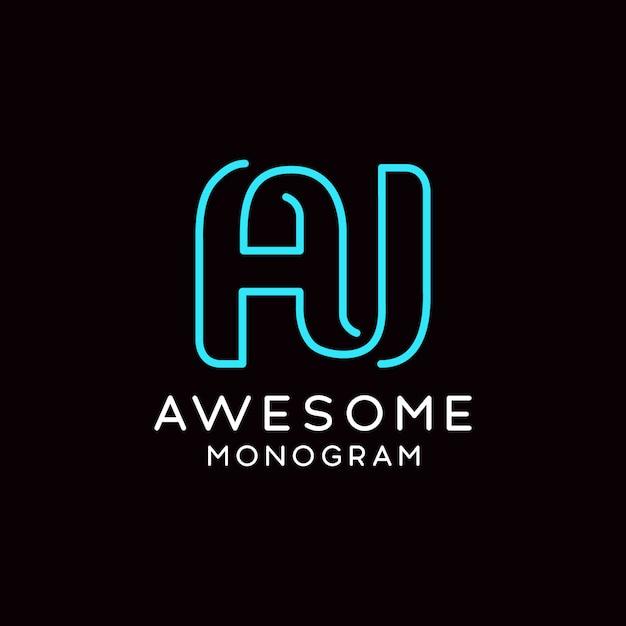 A j simple and creative monogram logo Premium Vector