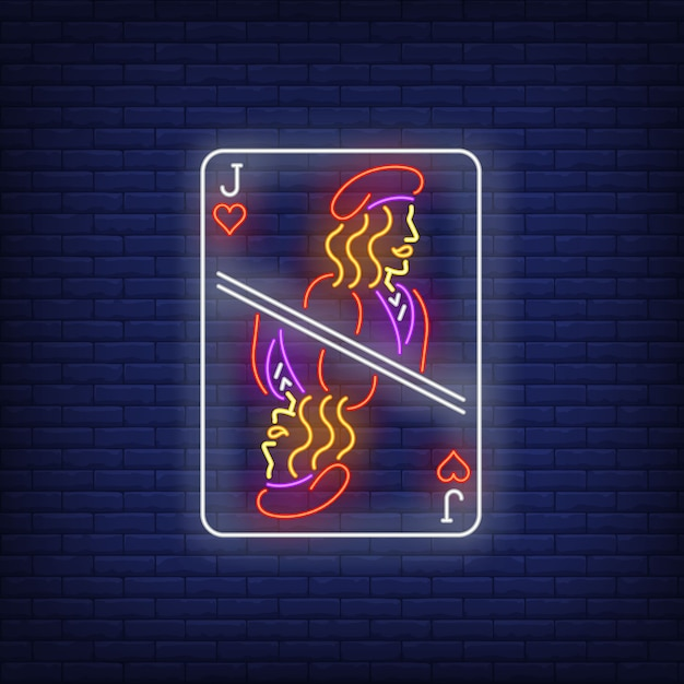 Jack of hearts playing card neon sign. Free Vector