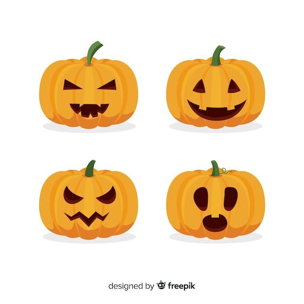 Jack o lantern flat halloween curved pumpkin Free Vector