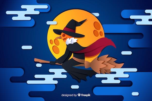Jack o lantern on a full moon halloween background Free Vector
