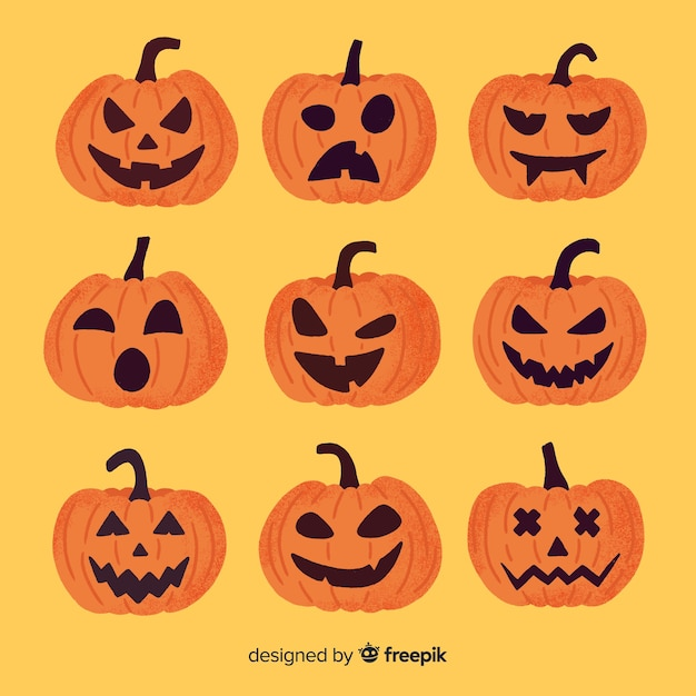 Jack o lantern hand drawn halloween pumpkin Free Vector
