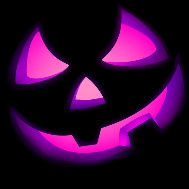 Jack o lantern pumpkin illuminated green. Premium Vector