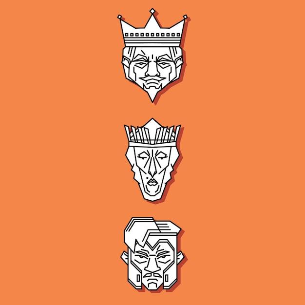 Jack queen king Premium Vector