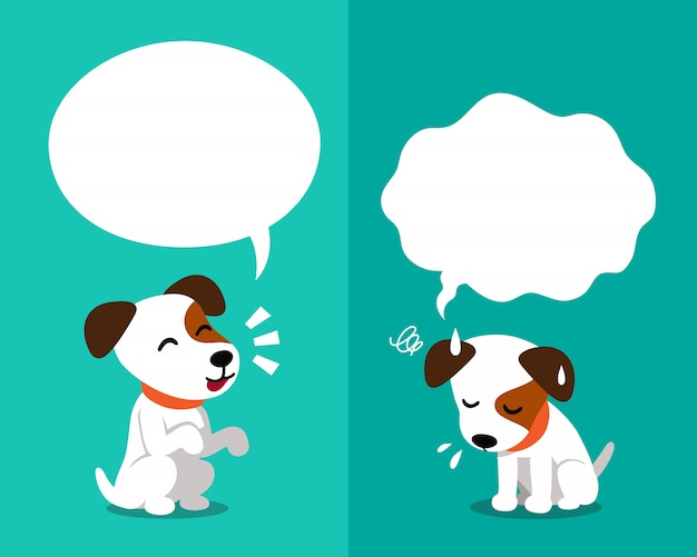 Jack russell terrier dog expressing different emotions with speech bubbles Premium Vector