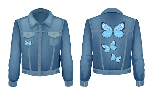 Jacket made of denim patch illustration Premium Vector