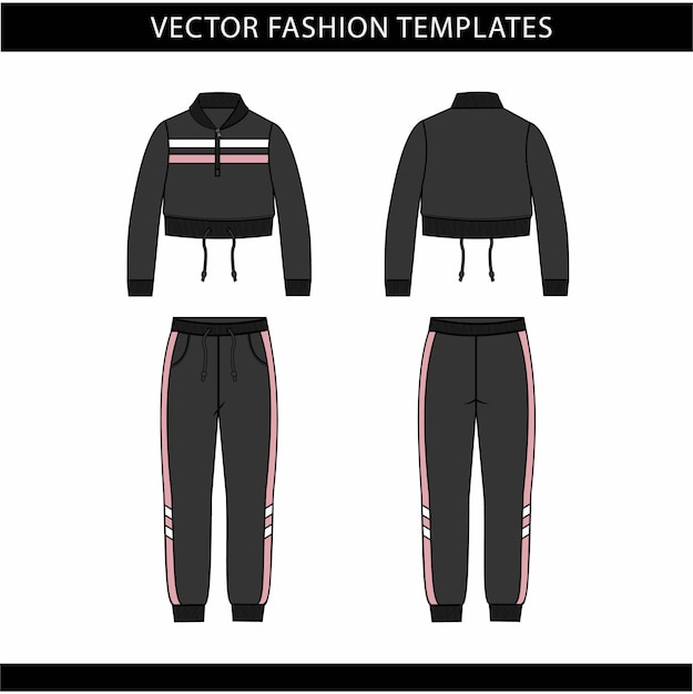 Jacket  and pants fashion flat sketch template, jogging outfit front and back, sport wear outfit Premium Vector