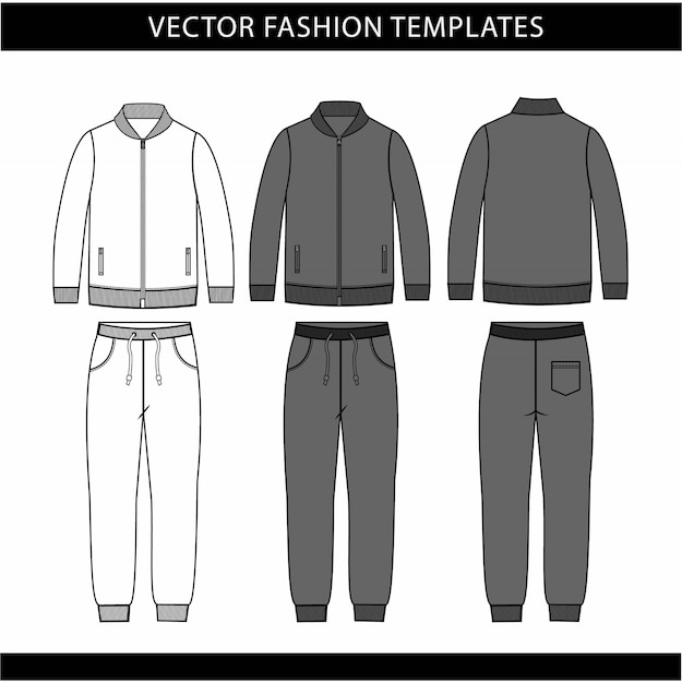 Jacket and sweat pants fashion flat sketch template, jogging outfit front and back, sport wear outfit Premium Vector