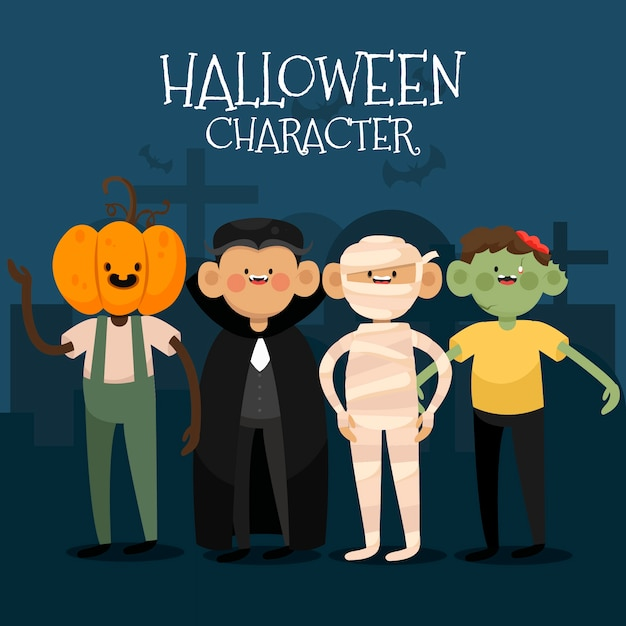 Jackolantern, vampire, mummy and zombie at the cemetery