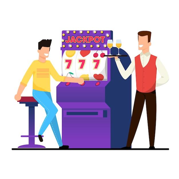 Jackpot on casino slot machine vector illustration Premium Vector