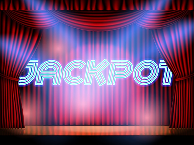 Jackpot casino win neon lettering live stage on background with red curtain Premium Vector