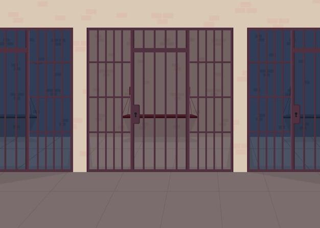 刑務所フラットカラーイラスト。警察署。囚人のための拘置所。法的な犯罪に対する罰。正義と法。背景にバーの行と刑務所2d漫画のインテリア Premiumベクター