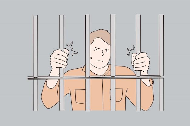 刑務所、囚人、犯罪の概念 Premiumベクター