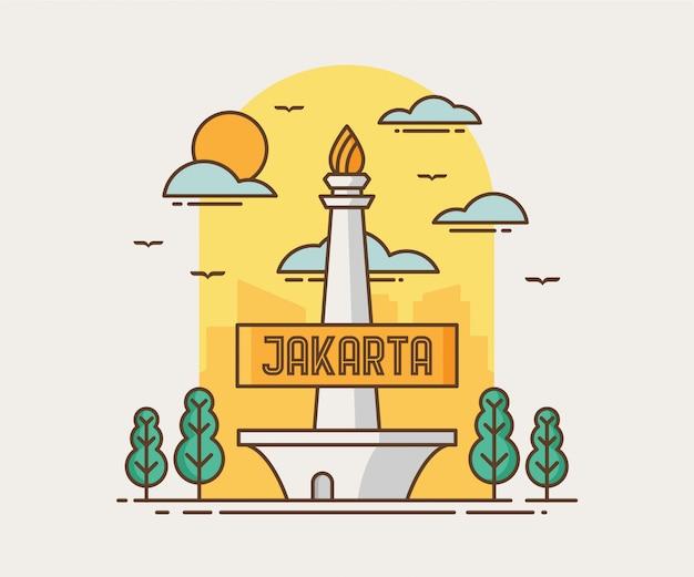 Джакарта сити монас (памятник насионалу) Premium векторы