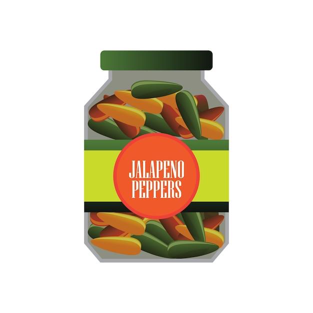 缶詰食品としてのガラスのjalapenosピクルス。ベクトルイラスト 無料ベクター