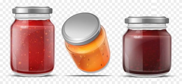 Jam containers Free Vector